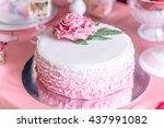 dessert table  pink wedding cake | Shutterstock . vector #437991082