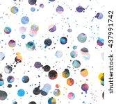 watercolor galaxy background.... | Shutterstock .eps vector #437991742