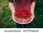 woman holding strawberry cake... | Shutterstock . vector #437996656