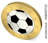 one euro coin with soccer ball... | Shutterstock . vector #438005722