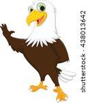 cute eagle cartoon waving hand | Shutterstock .eps vector #438013642