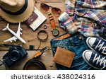 travel clothing accessories... | Shutterstock . vector #438024316