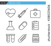 set of medical icons executed... | Shutterstock . vector #438025606