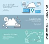 set banner cloud services.... | Shutterstock . vector #438025735