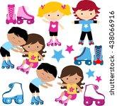 boys and girls on roller skates  | Shutterstock .eps vector #438066916