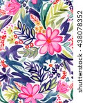 seamless floral pattern with... | Shutterstock . vector #438078352