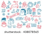 set of christmas doodle | Shutterstock .eps vector #438078565