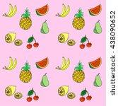 group of fresh fruit doodle.... | Shutterstock .eps vector #438090652