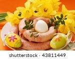traditional polish raw sausage for easter - stock photo