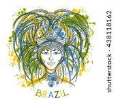 brazilian carnival woman in... | Shutterstock .eps vector #438118162
