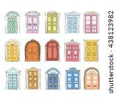 doodle doors vector set. hand... | Shutterstock .eps vector #438123982