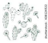 cactus. peyote. set. sketch... | Shutterstock .eps vector #438124522