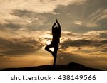 blurred silhouette woman yoga... | Shutterstock . vector #438149566
