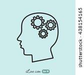 line icon    gear in head   Shutterstock .eps vector #438154165