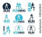 set of running club logo...