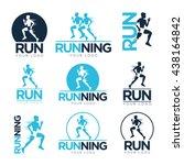 set of running club logo...