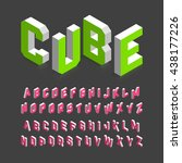 isometric 3d font. three... | Shutterstock .eps vector #438177226