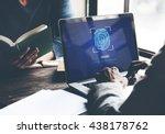 fingerprint scan biometrics...   Shutterstock . vector #438178762