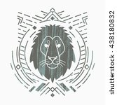 lion linear head in tribal... | Shutterstock .eps vector #438180832