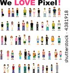 cute pixel people | Shutterstock .eps vector #4381918