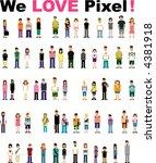 cute pixel people | Shutterstock .eps vector #4381918