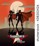 poster. superhero couple  male... | Shutterstock .eps vector #438202426