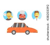 car  man calling for help and... | Shutterstock .eps vector #438203392