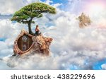 girl travels the world of his... | Shutterstock . vector #438229696