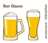 two glasses of beer  hand... | Shutterstock . vector #438260962