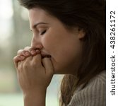 young women with a nervous... | Shutterstock . vector #438261172