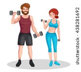 man and woman doing fitness... | Shutterstock .eps vector #438281692