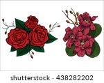 bright summer flowers on a... | Shutterstock .eps vector #438282202