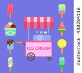 ice cream truck vector flat... | Shutterstock .eps vector #438284116
