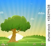 sunset at meadow with tree ... | Shutterstock .eps vector #438299638
