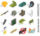 war icons set  isometric 3d...