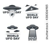 world ufo day. set of four... | Shutterstock .eps vector #438306985