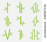 Bamboo Vector Icon Set Isolate...