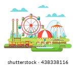 amusement park flat design | Shutterstock .eps vector #438338116