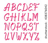 pink capital alphabet letters....   Shutterstock . vector #438376042