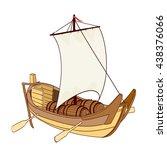 wooden sailing boat. raster... | Shutterstock . vector #438376066