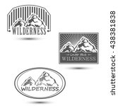 wilderness emblem with mountain ... | Shutterstock .eps vector #438381838
