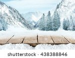 wooden pier and snow and... | Shutterstock . vector #438388846
