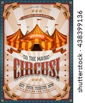 vintage circus poster with big... | Shutterstock .eps vector #438399136