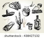 mexican traditional food menu.... | Shutterstock .eps vector #438427132