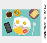 breakfast icons flat set with... | Shutterstock .eps vector #438454162