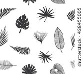 pattern tropical leaves. hand... | Shutterstock . vector #438455005