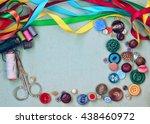 scissors  thread  needle ... | Shutterstock . vector #438460972