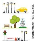 light posts and outdoor...   Shutterstock .eps vector #438462556