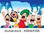 Cartoon Sport Fans. Vector...