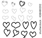vector sketch hearts. sleek... | Shutterstock .eps vector #438480202